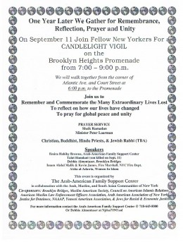 Flier announcing an Interfaith candlelight vigil and prayers on the Brooklyn Heights Promenade.