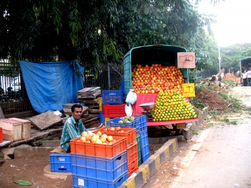 Fruit Vendor has his place along with Bihari Belpuri Walla next at a safe distance.