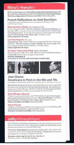 Image of one page from the fiaf calendar of events brochure for the months of Sept/Oct/Nov/Dec 2002. fiaf stands for the French Institute Alliance Francaise.