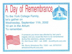 A flier describing a memorial gathering at York College in Jamaica, Queens.