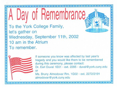 A flier describing a memorial gathering at York College in Jamaica, Queens.