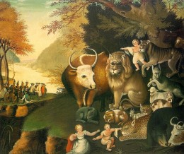 Edward Hicks was perhaps America's most famous colonial folk artist. He painted the Peaceable Kingdom series depicting children and animals living side by side in harmony and peace.