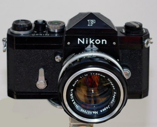 Nikon F Series 1959 - with a full line of interchangeable components and accessories was the first system camera.