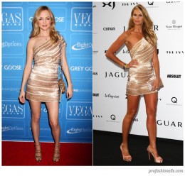 Heather Graham for Vegas Magazines Sixth Anniversary wearing a gorgeous one-shouldered gold Herv Lger Spring 2009 dress. Next, Elle McPherson wearing the same dress in London