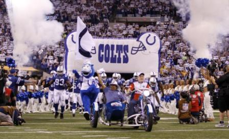 The Indianapolis Colts during an NFL football game Sunday, Nov. 15, 2009 in Indianapolis. (AP Photo/Darron Cummings