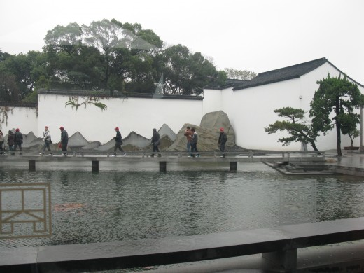 the pond and rockery setting around which the museum is built