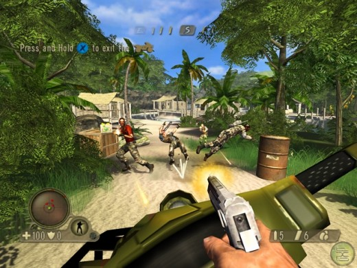 A first person shooter.  You see how the camera shows only what you, the guy with the gun, would see?