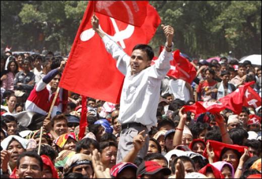 Celebrating a Maoist victory.