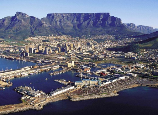 Aerial View of Cape Town with Table Mountain in the Background