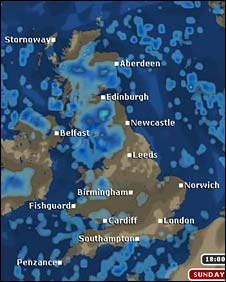The affected area is under the blue, which represents rain, showing on this map of the UK, between Belfast in Ireland and Newcastle in the North East of England