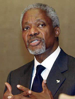 Kofi Annan  former Secretary General of the United Nations. Nobel Peace Prize Laureate.
