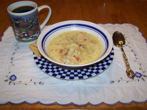 Fried Potato Clam Chowder Soup In a Bowl.