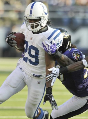 Indianapolis Colts running back Joseph Addai carries the ball during the NFL football game against the Baltimore Ravens, Sunday, Nov. 22, 2009 in Baltimore. (AP Photo/Gail Bu