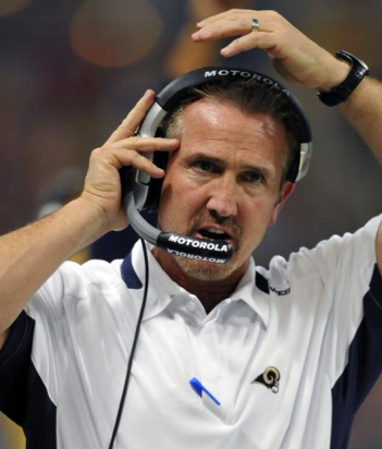 St. Louis Rams head coach Steve Spagnuolo stands on the sidelines during the first quarter of an NFL football game against the Arizona Cardinals Sunday, Nov. 22, 2009, in St. Louis. (AP Photo/Jeff Curry)