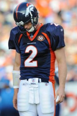 Denver Broncos' Chris Simms (2) walks off the field during the second quarter of an NFL football game against the San Diego Chargers, Sunday, Nov. 22, 2009, in Denver. Simms was replaced by quarterback Kyle Orton during the quarter. (AP Photo/Chris S