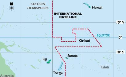 Tonga is just west of the International Dateline
