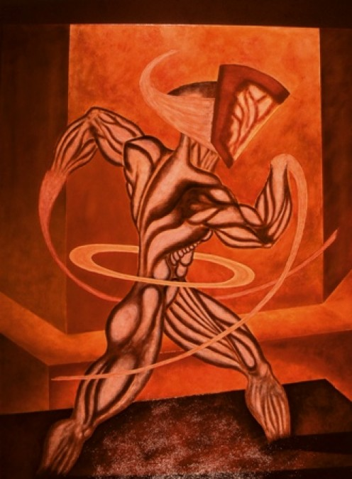 """""""Omicron Contraction"""" - original painting by Robert Kernodle, 1999"""