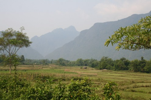 Vang Vieng towards the mountains our bus trip went