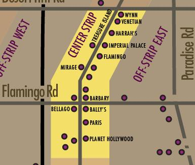 Las Vegas Strip Hotels Map - Center Strip