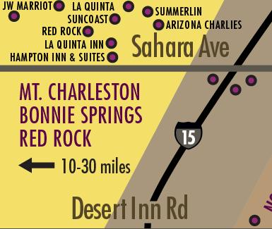 These Hotels are located a few miles west of The Strip and include the Master Planned Community of Summerlin