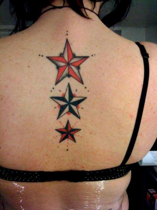 Stars Tattoo Design For Back Body Girl