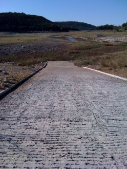 A boat ramp on Lake Travis during the drought!