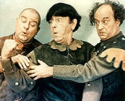 Stooges with Curly-Joe DeRita (at left)