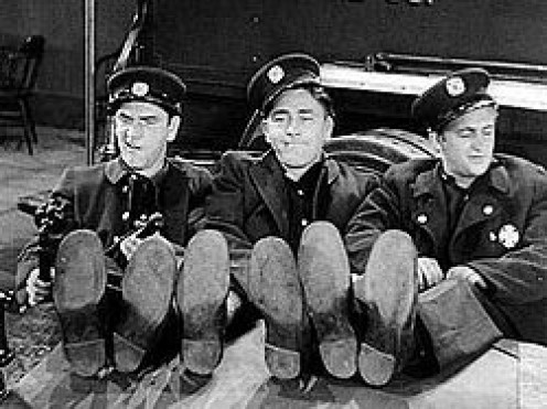 "Original Three Stooges with Shemp Howard (at left) in their first movie, ""Soup to Nuts"""