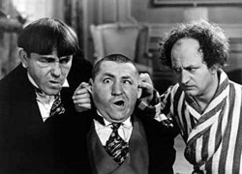 Three Stooges with Curly Howard (center)