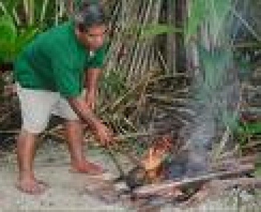 Here in the photograph, a man is roasting some Breadfruits on a wood fire.