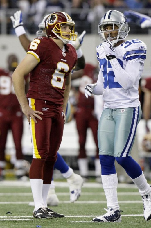 Shaun Suisham (6) reacts after missing a field goal as Dallas Cowboys Orlando Scandrick (32) walks back to the sideline in the fourth quarter of an NFL football game, Sunday, Nov. 22, 2009 in Arlington, Texas. The Cowboys won 7-6.(AP Photo/LM Otero)