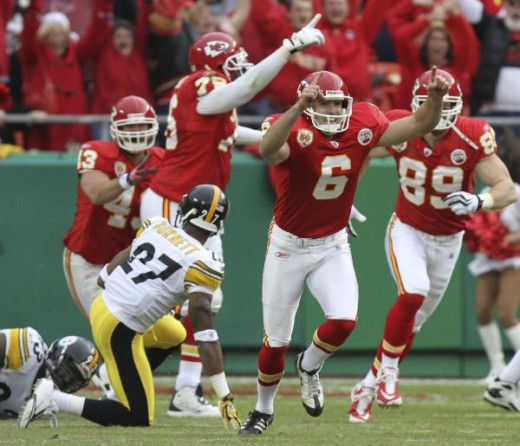 Kansas City Chiefs kicker Ryan Succop (6) celebrates a game-winning field goal during overtime (AP Photo/Ed Zurga)