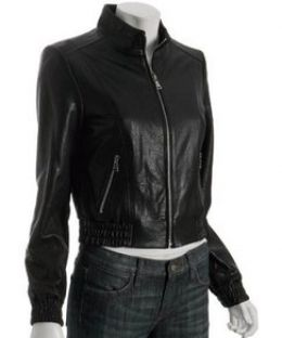 Glazed Black Leather Jacket from trendmill.com