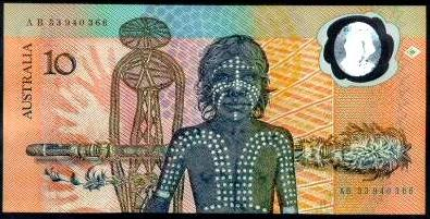 The 1988 $10 note: The first polymer banknote put into circulation in Australia.