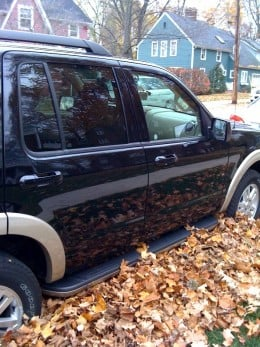 To get to the Cafe, we parked in a huge pile of leaves! Apparently they rake them to the curb and trucks pick them up.