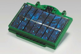 Lego component with solar cells