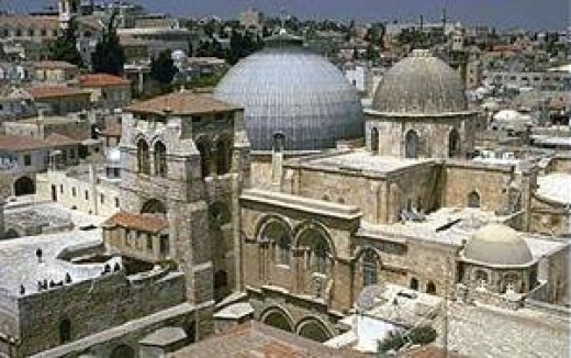 The Church of the Holy Sepulchre - today this area is in the middle of Jerusalem but in the time of Christ this area was outside the city wall.