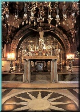 Beneith this chapel is Golgotha, the knoll where the cross upon which Christ was crucified was errected.