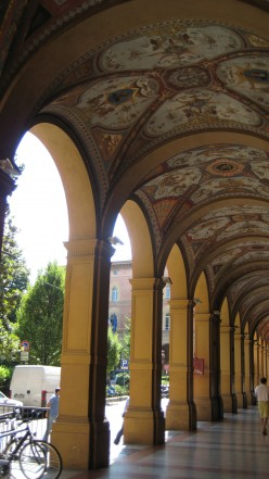 Bologna Italy. These decorative painted walkways provide shelter from the sun in summer and the rain in winter.