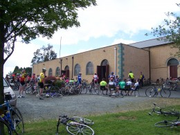 This picture shows the last rest stop before the finish, no wonder the riders are having a rest having covered about 150 of the 200 kilometers in a day.