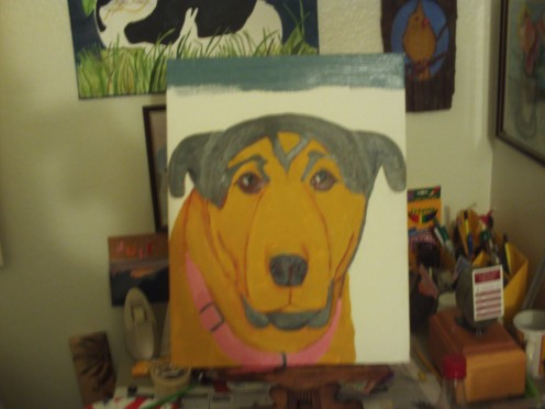 Here I am beginning to paint Buster's background.