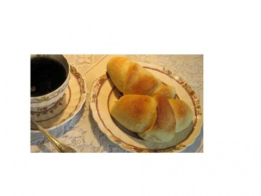 Aunt Gen's Butter Horns with Coffee