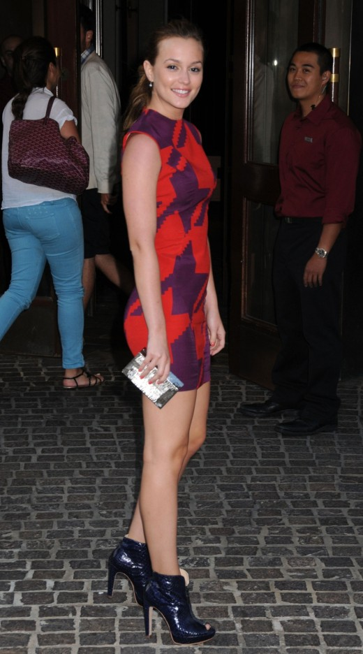 Leighton Meester in a short dress and high heels