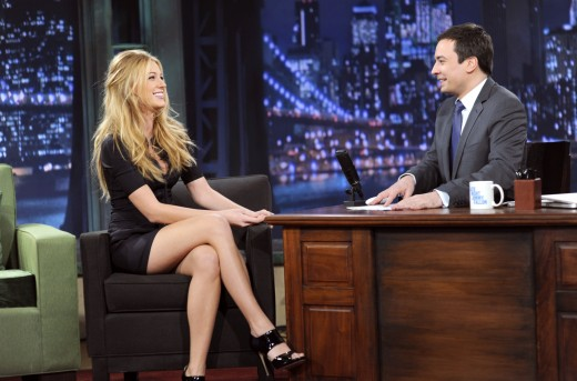 Blake Lively on Jimmy Fallon in a sexy dress and high heels