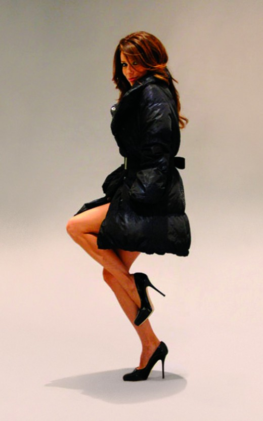 Eva Longoria in a London Fog ad wearing high heels