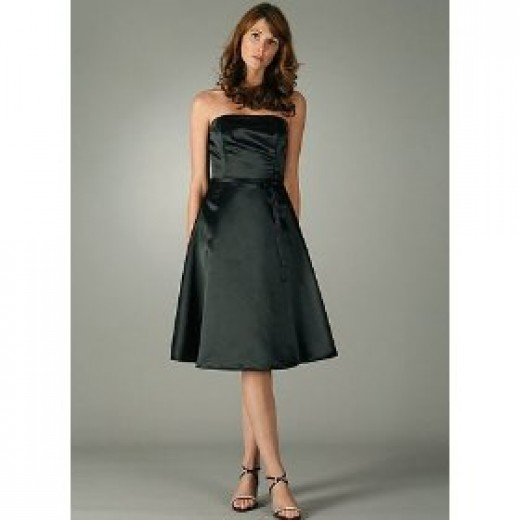 Satin A line strapless dress