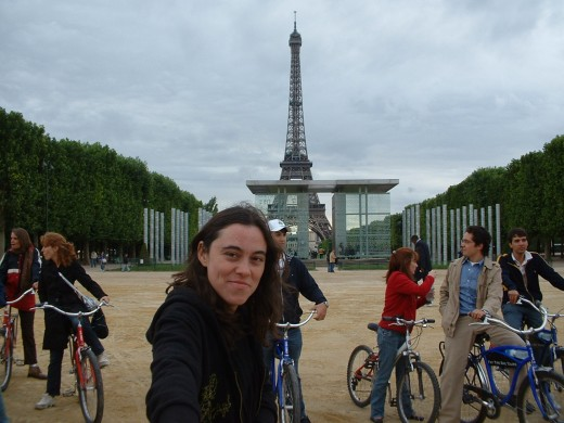 Bike tour group at the Eiffel Tower
