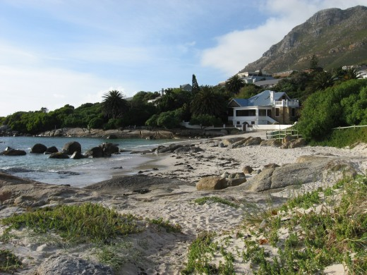 Beach with mountains near Simons Town South Africa