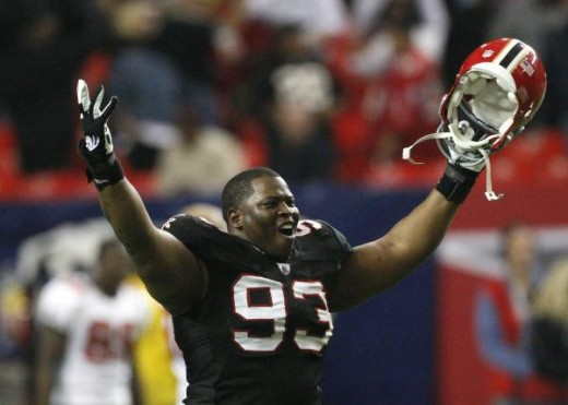 Atlanta Falcons' Chauncey Davis celebrates after Atlanta defeated the Tampa Bay Bucs (AP Photo/John Bazemore)