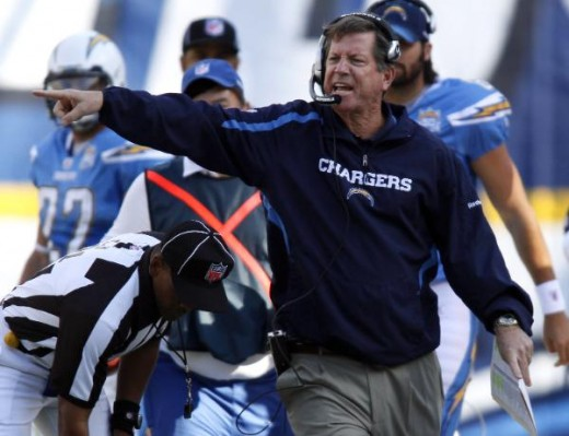 Norv Turner yells at an official during the Chargers' 43-14 victory over the Kansas City Chiefs in an NFL football game  (AP Photo/Denis Poroy)